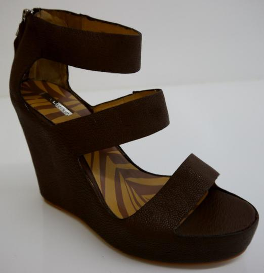 Matiko Leather Chocolate Brown Wedges Image 2
