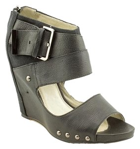 Mea Shadow Leather Wedge Studded Strappy Black Wedges