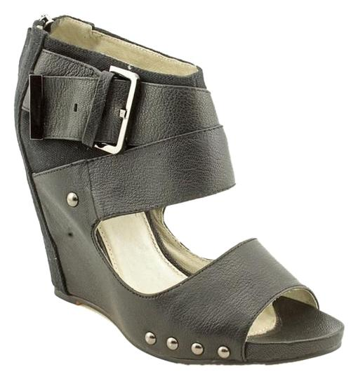 Mea Shadow Leather Studded Strappy Black Wedges