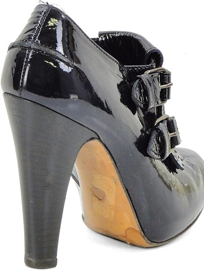Moschino Patent Leather Hidden Platform Belted Black Boots