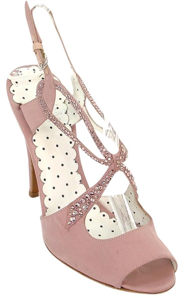 7e6e9c130fc7 Moschino Pink Cheap   Chic - Rose Satin Crystal Adorned Sandals. Size  US  ...