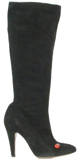 Moschino Suede Knee High Black Boots
