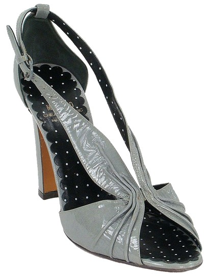 Moschino Cut-out Patent Leather Slingback Gray Sandals