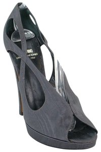 Moschino Cut-out Peep Toe Fabric Gray Pumps