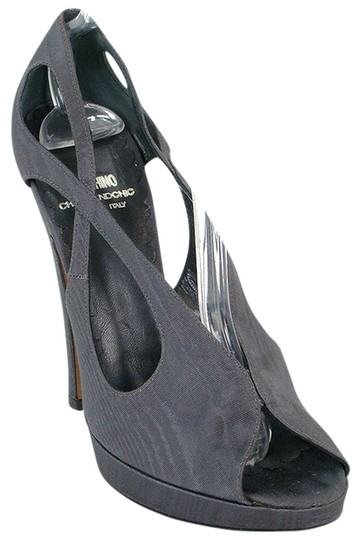 Moschino Cut-out Peep Toe Fabric Canvas Tie Dye Gray Pumps