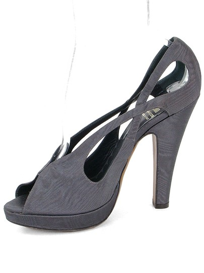 Moschino Cut-out Peep Toe Fabric Canvas Tie Dye Gray Pumps Image 3