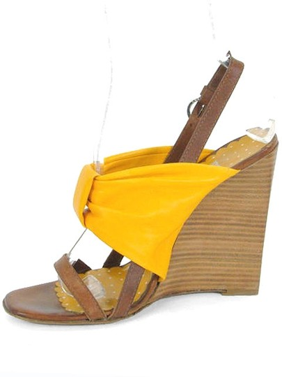 Moschino Bow Wedge Wood Mustard Yellow Sandals