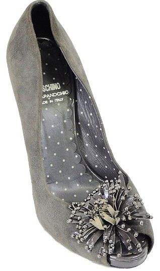 Moschino Peep Toe Suede Gray Pumps