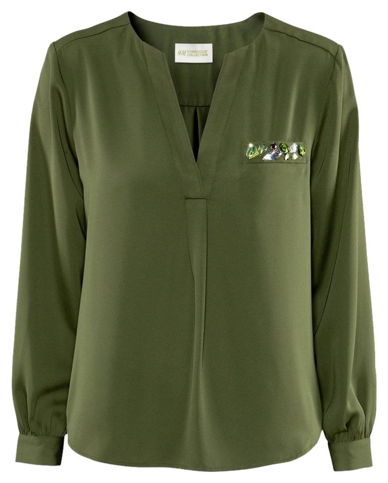 e1382bd7 Divided by H&M Olive Military Green Silky Rhinestone Chiffon Button ...