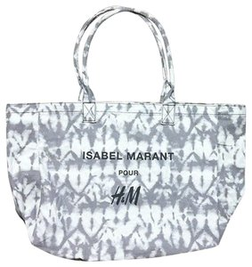 Isabel Marant Chic Canvas Versatile Causal Travel Shopper Marble Monochrome Boho Tote in Grey Tie-Dye
