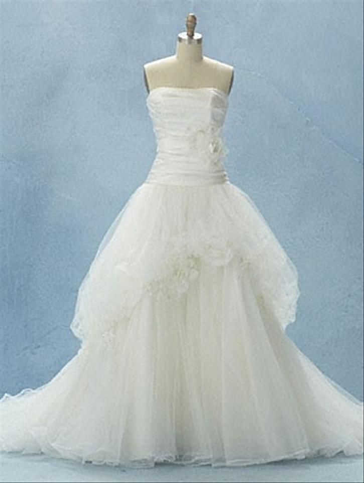 Alfred Angelo White Tulle & Satin 211 Snow Feminine Wedding Dress ...