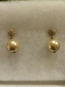 Carole Little Light Gold Pearl Wedding Bridal Earrings