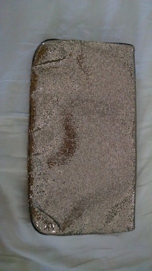 Victoria's Secret Glitter Holiday Formal Night Out Date Night Gold Clutch Image 1