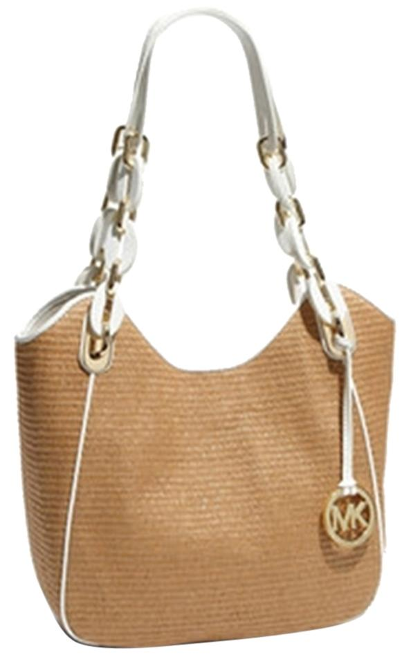 c743ab2391b9 MICHAEL Michael Kors Leather Patent Leather Straw Woven Chain Logo Summer  Spring Trim Tote in beige ...