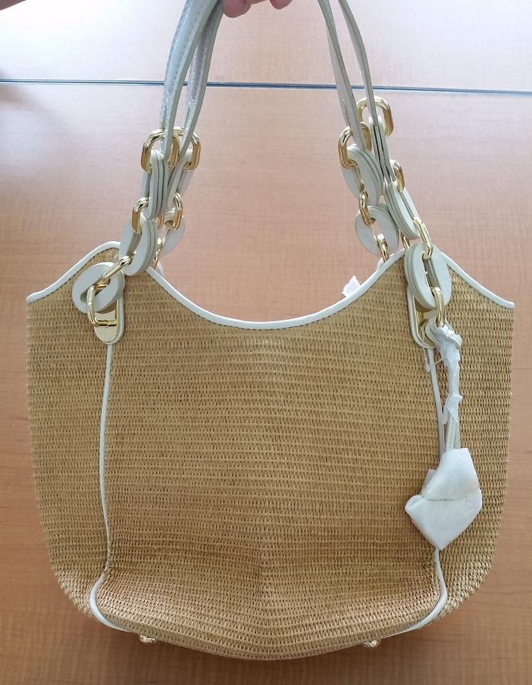 60c42f8a7bc368 MICHAEL Michael Kors Leather Patent Leather Straw Woven Chain Logo Summer  Spring Trim Tote in beige. 1234567