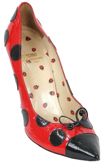 Moschino Ladybug Print Animal Print Patent Leather Red, Black Pumps