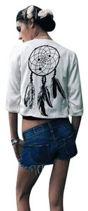 Pencey Dream Catcher Beaded Bohemian Draped 3/4 Sleeve Top Ivory