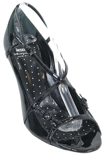 Moschino Patent Leather Cut-out Open Toe Black Sandals