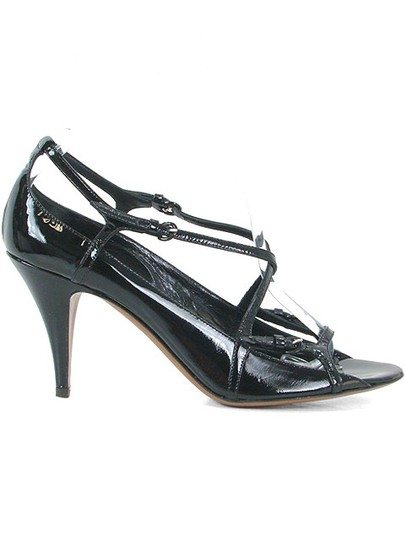 Moschino Patent Leather Cut-out Open Toe Black Sandals Image 1