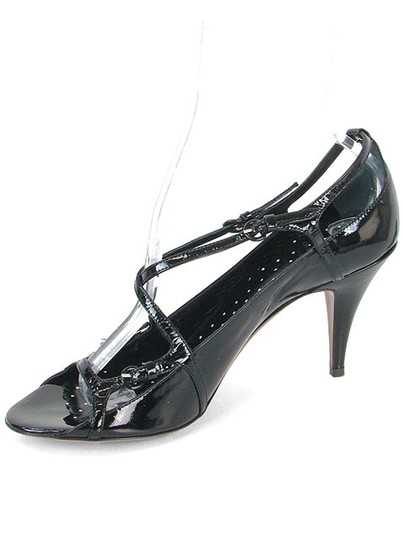 Moschino Patent Leather Cut-out Open Toe Black Sandals Image 3