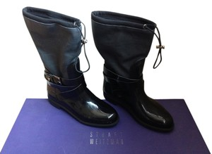 Stuart Weitzman Rain Drawstring Pullup Faux Leather Black Boots