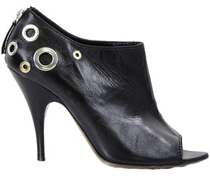 Moschino Studded Grommet Mirror Peep Toe Open Toe Black Boots