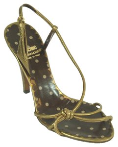 Moschino Bronze Strappy Slingback Cut-out Metallic Gold, Bronze Sandals