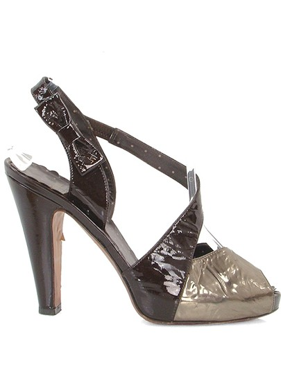 Moschino Metallic Patent Leather Silk Open Toe Cut-out Brown, Bronze, Gold Pumps