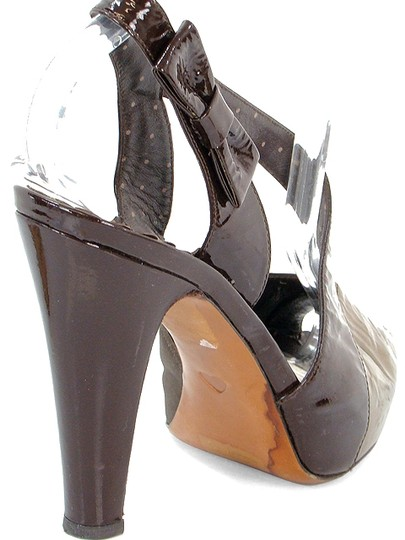 Moschino Metallic Patent Leather Silk Open Toe Cut-out Brown, Bronze, Gold Pumps Image 2