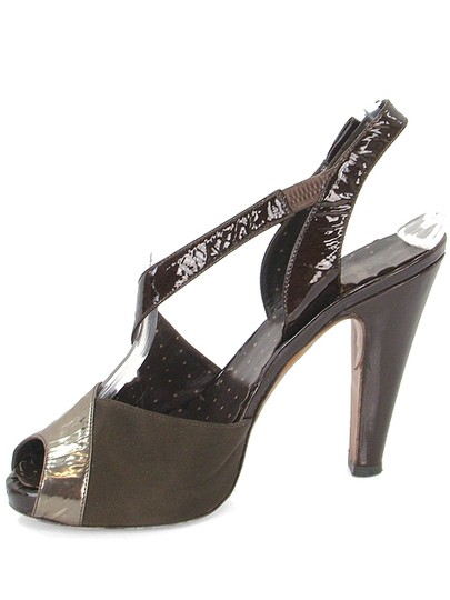Moschino Metallic Patent Leather Silk Open Toe Cut-out Brown, Bronze, Gold Pumps Image 3
