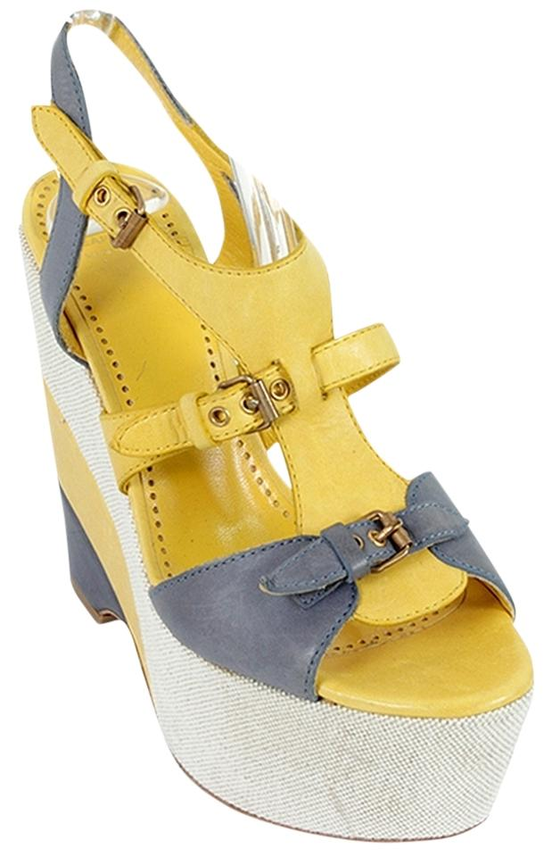d75e2b6bbb32 Moschino Yellow Blue White Cheap and Chic and Grey Platform Sandals Wedges