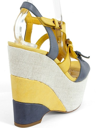 Moschino Canvas Cut-out Open Toe Yellow, Blue, White Wedges