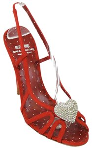 Moschino Strappy Sweetheart Satin Slingback Crystal Polka Dot Red Sandals