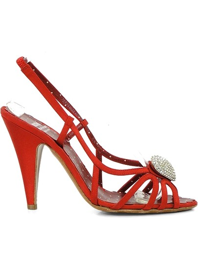 Moschino Strappy Satin Slingback Crystal Red Sandals Image 1