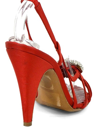 Moschino Strappy Satin Slingback Crystal Red Sandals Image 2