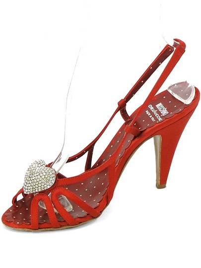 Moschino Strappy Satin Slingback Crystal Red Sandals Image 3