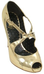 Moschino Peep Toe Open Toe Sandal Gold Pumps