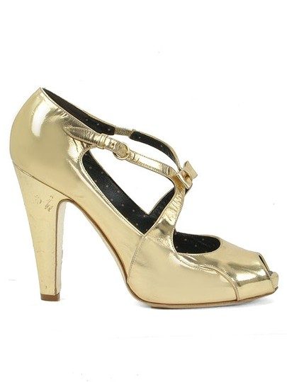 Moschino Peep Toe Open Toe Sandal Metallic Strappy Gold Pumps