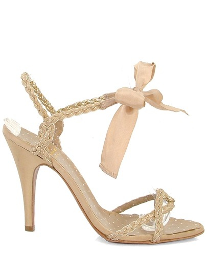 Moschino Braided Ribbon Beige Sandals Image 1