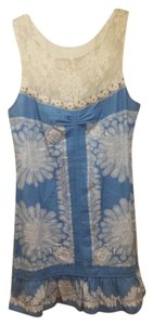 Free People short dress Blue and White Lace Ruffle Floral Linen Shift on Tradesy