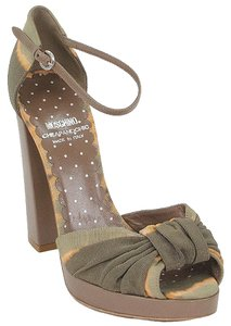 Moschino Grosgrain Tie Dye Platform Chunky Olive Green, Brown, Taupe Sandals