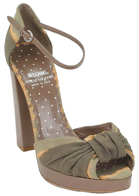 Item - Olive Green Brown Taupe Cheap & Chic Tie-dye Platform Sandals Size EU 37 (Approx. US 7) Regular (M, B)