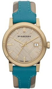 Burberry BURBERRY Gold Engraved Teal Green Monogram Leather Watch for Spring Summer