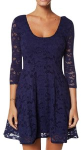 Free People 3/4 Sleeve Lace Scoop Back Fit And Flare Stretchy Dress