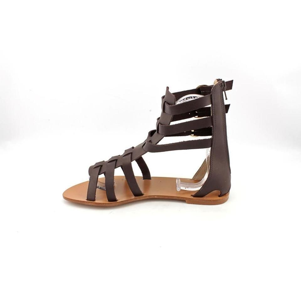 All black cleopatra high leather in coffee sandals on sale for All black piscine wedges