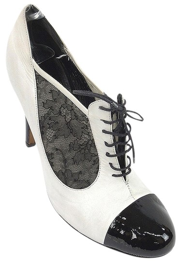 Moschino Lace Oxford Patent Leather Stiletto White, Black Boots