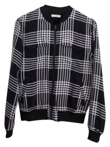 Equipment Silk Black and white plaid Jacket