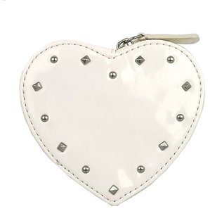 Coach COACH F68068 STUDDED LIQUID GLOSS HEART COIN PURSE WHITE NEW WITH TAG