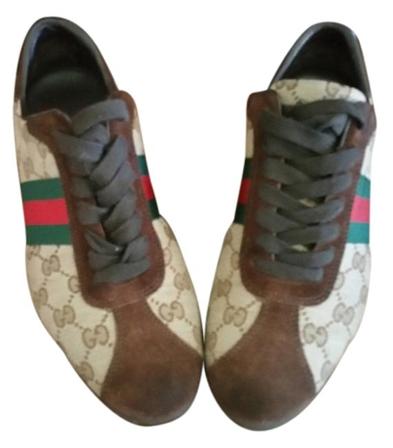 Item - Brown Suede Beige Canvas Red and Green Webbing Serial#117706 Purchased From Neiman Marcus Sneakers Size US 8.5 Regular (M, B)