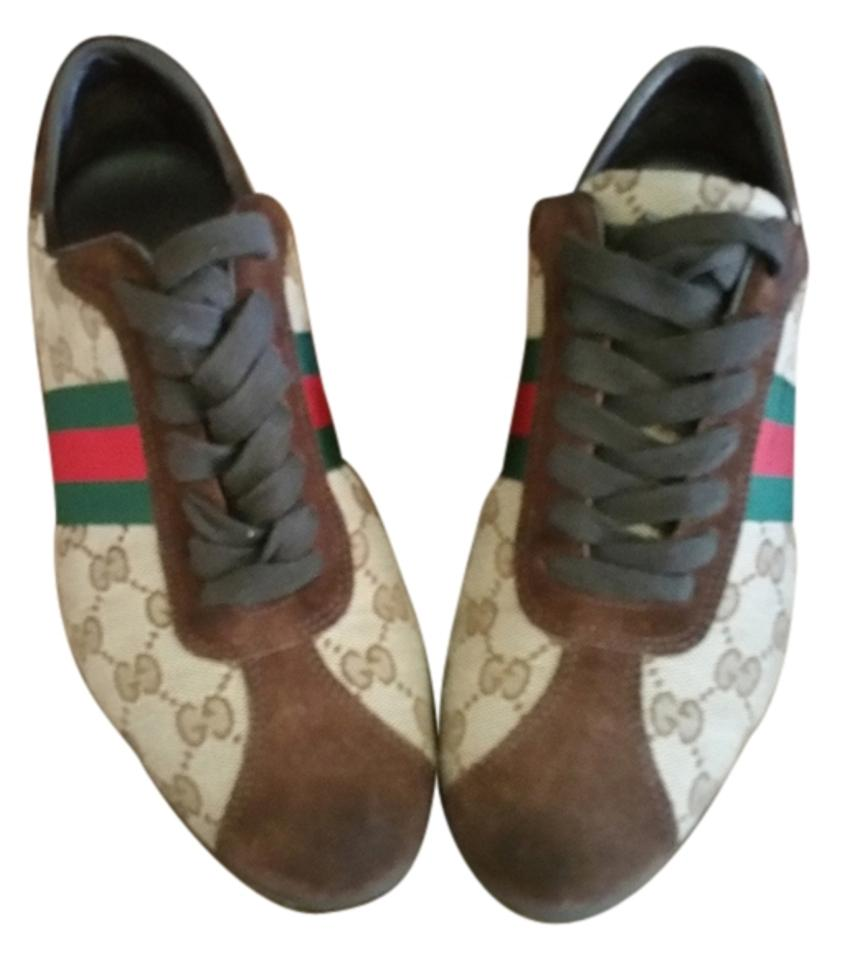 edf1955703e Gucci Brown Suede Beige Canvas Red and Green Webbing Serial 117706  Purchased From Neiman Marcus Sneakers